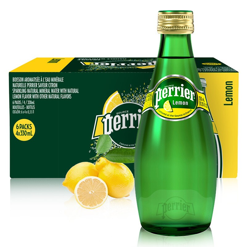 巴黎水柠檬味天然矿泉水330ml*24瓶
